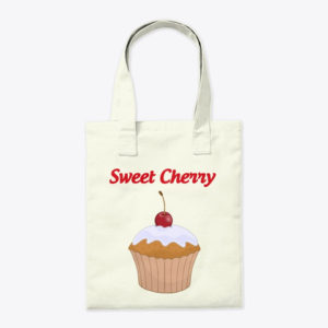 Cherry cup cake tote bag