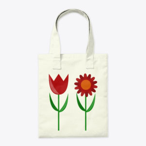 Red Tulip and Daisy Tote Bag